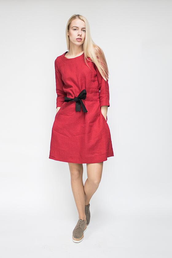 raudona lininė suknelė - LinenSheep