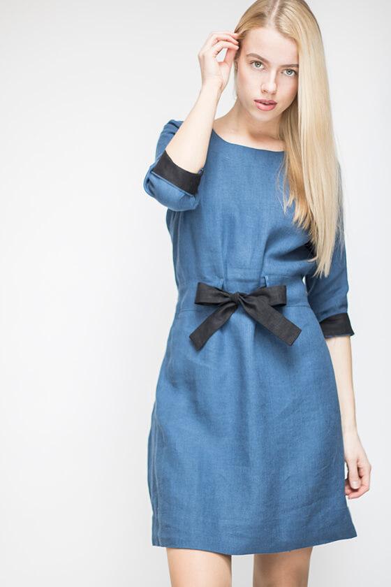 mėlyna lininė suknelė su kaspinu - LinenSheep