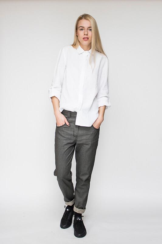 Balti lininiai marškiniai - LinenSheep