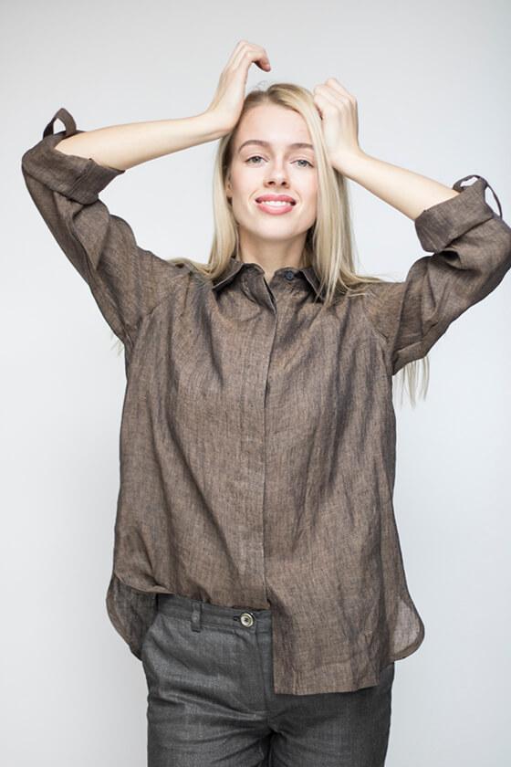 Rudi lininiai marškiniai - LinenSheep
