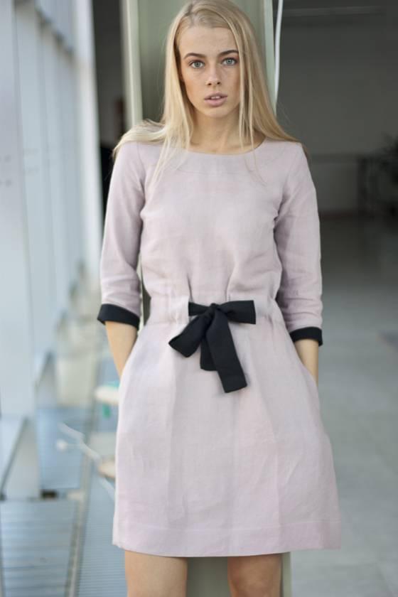 rausva lininė suknelė su kaspinu - LinenSheep