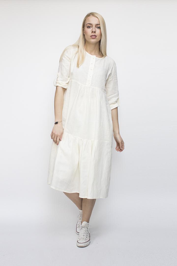 Laisva lininė suknelė - baltos spalvos - LinenSheep