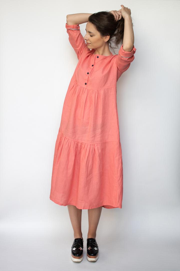 koralo spalvos lininė suknelė - LinenSheep