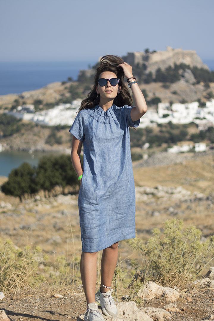 žydros spalvos lininė suknelė - LinenSheep