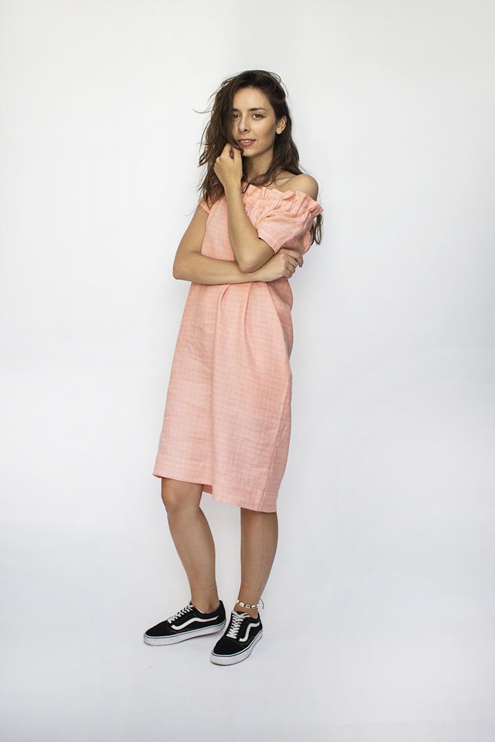 rausva vasarinė suknelė - LinenSheep