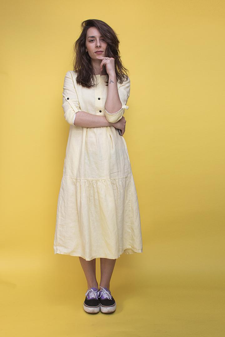 Ilgos lininės suknelės