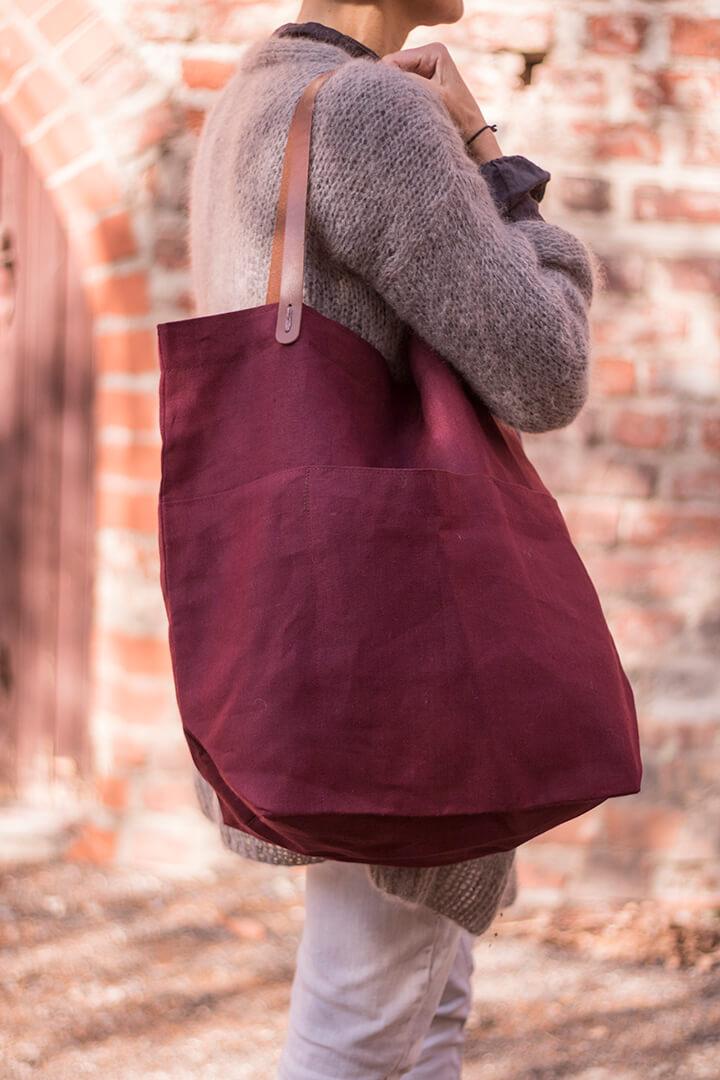 Lininis krepšys - bordo