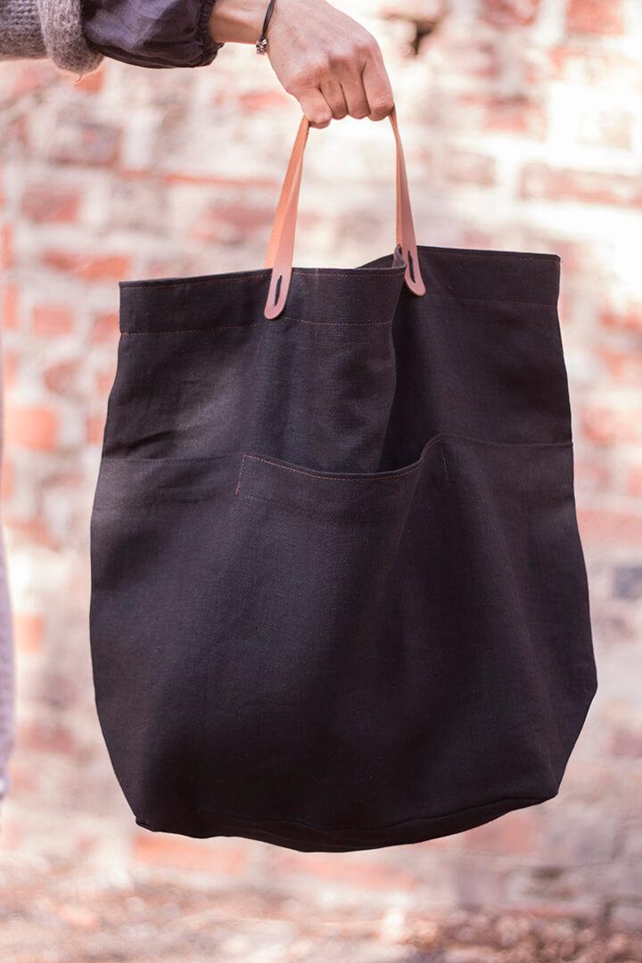 Lininis krepšys - juodas