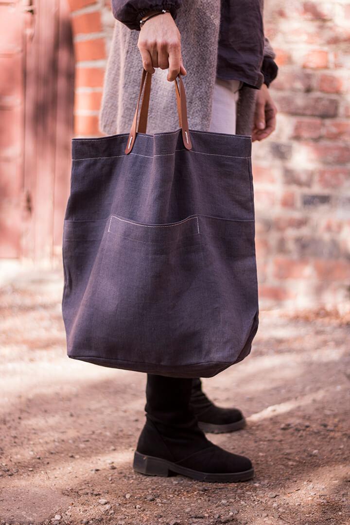 Lininis krepšys - pilkas