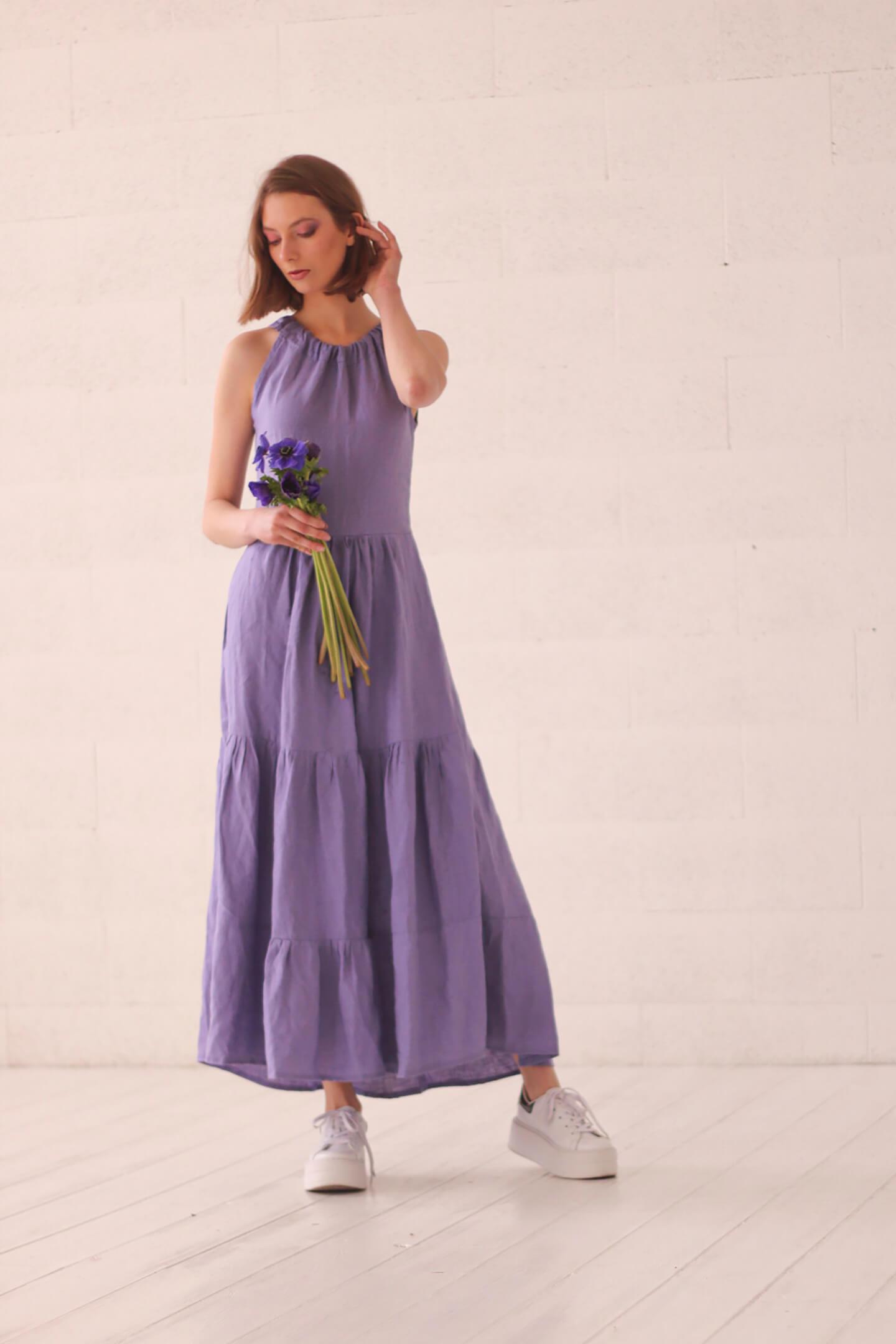 Lininė suknelė be rankovių
