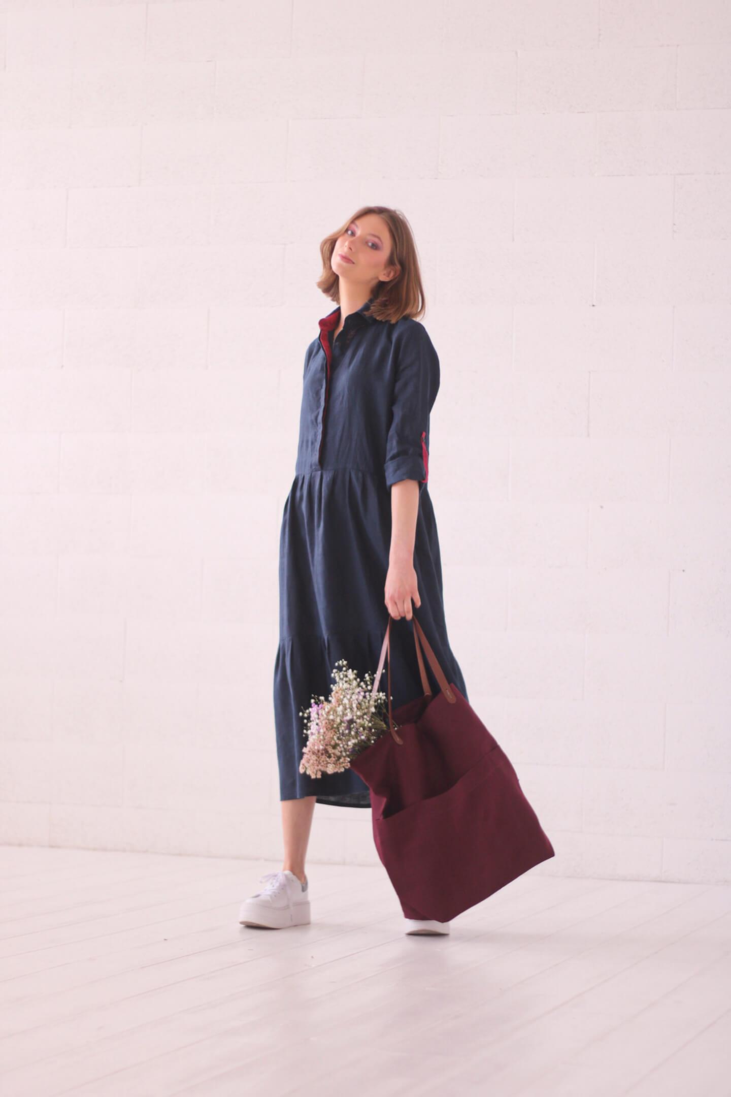 Lininė suknelė ir lininis krepšys